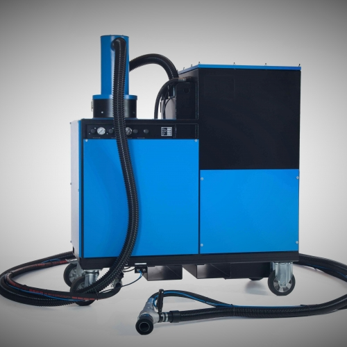 Mobile dust free blasting machines in closed circuit